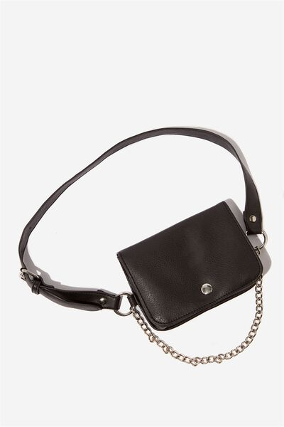 Pu Belt Bag W/Chain, BLACK