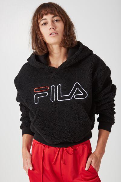 Fila Sherpa Hoodie, BLACK