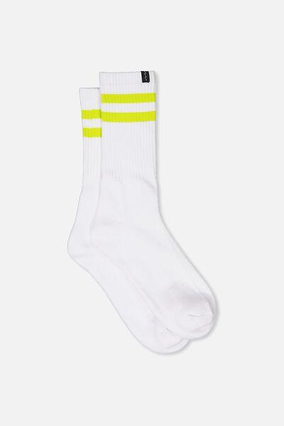 Retro Ribbed Socks, WHITE_LIME STRIPE