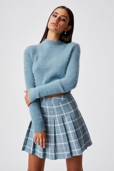Pleated Skirt, TAYA CHECK WHITE