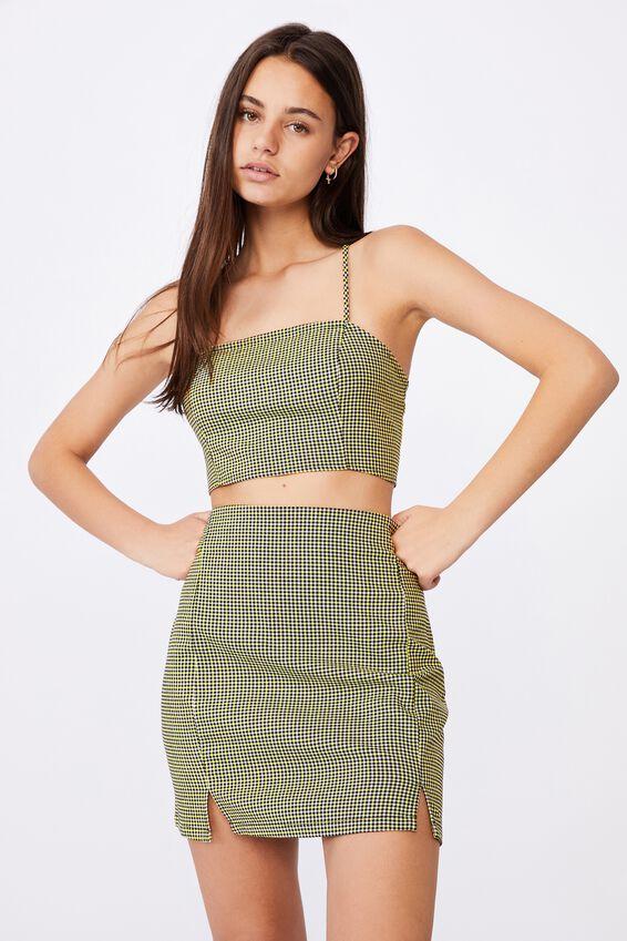 Double Split Mini Skirt, ELLE YELLOW GINGHAM