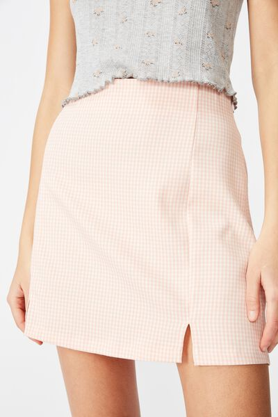 Double Split Mini Skirt, CANDLE LIGHT PEACH_GINGHAM