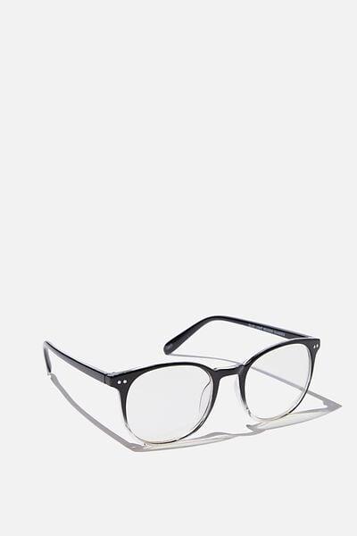Blue Light Reader Glasses, BLACK TO CLEAR B LIGHT