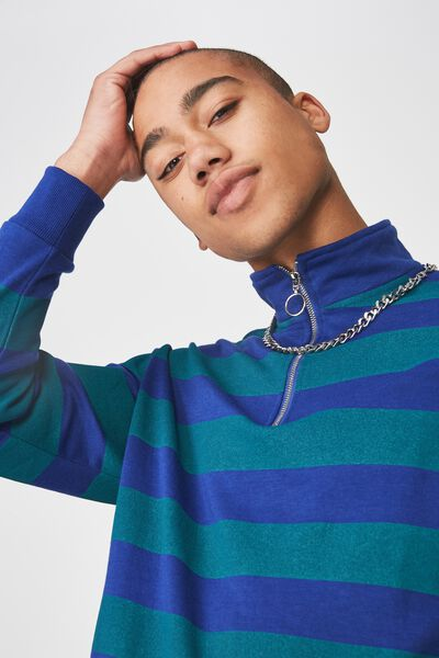 Qtr Zip Funnel Neck Top, BLUE/ALPINE GRN STRIPE
