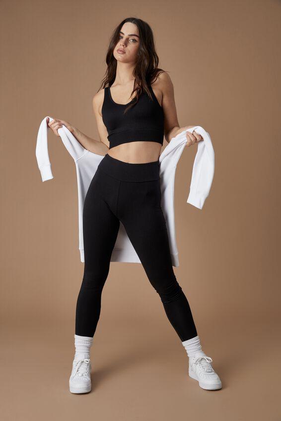 High Waisted Legging, BLACK