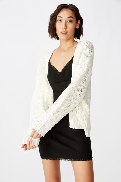 Oversized Chunky Knit Cardi, WHITE