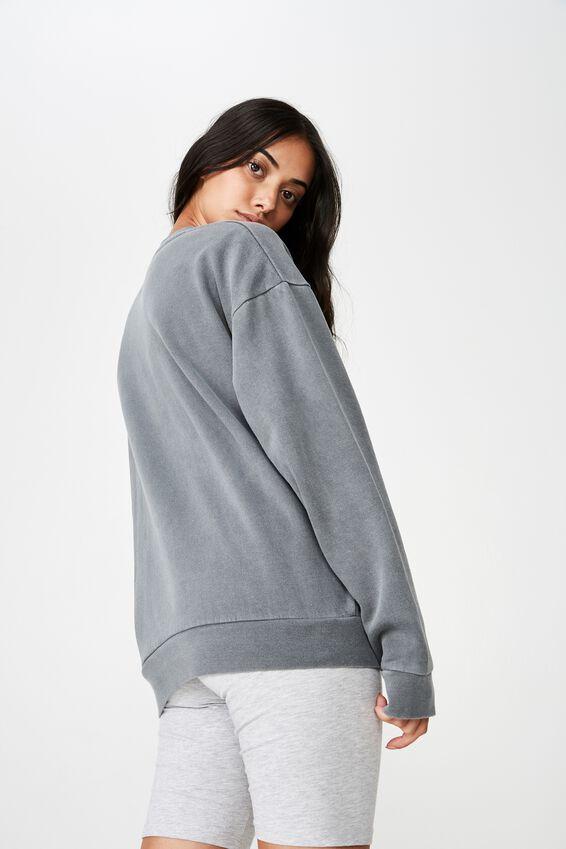 Fila Washed Crew Neck Sweater, WASHED ASPHALT