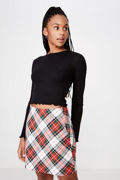Long Sleeve Textured Top, BLACK