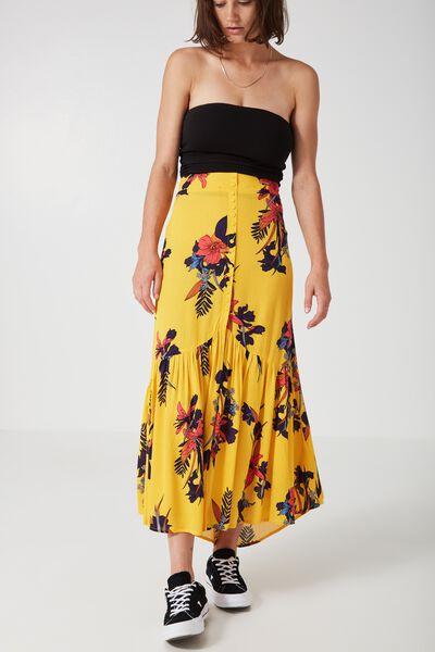 Blossom Button Through Maxi Skirt, TROPICAL RETRO FLORAL