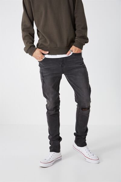 Slim Straight Denim Jeans, BLENDED BLACK WORN