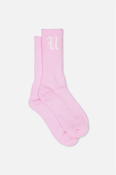 Retro Ribbed Socks, SOLID PALE PINK FU