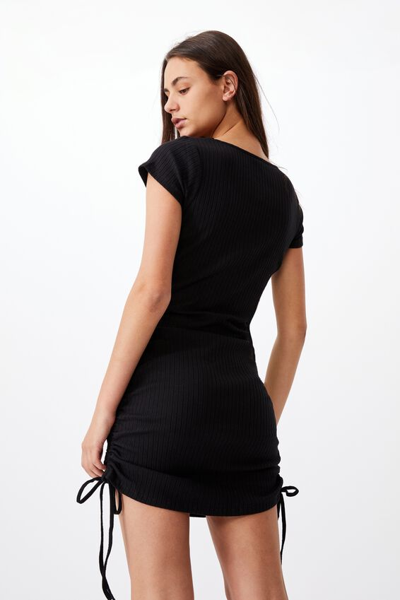 Ruched Side Rib Dress, BLACK