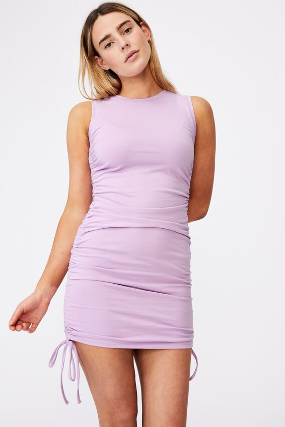 Ruched Sleeveless Dress, ORCHID BLOOM