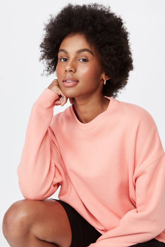 Oversized Crew Neck Sweater, BURNT CORAL