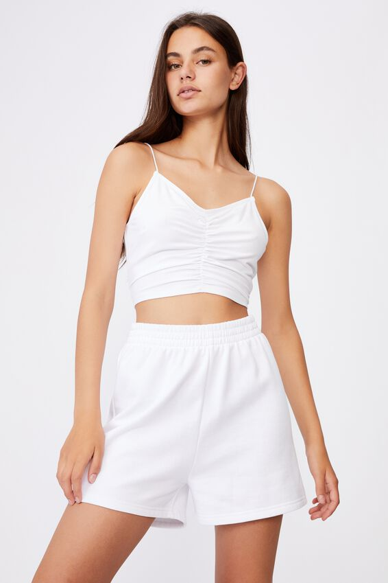 V Neck Ruched Cami, WHITE