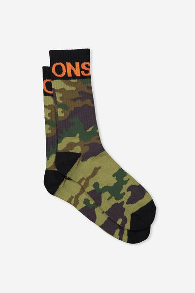Retro Ribbed Socks, GREEN CAMO_VISIONS