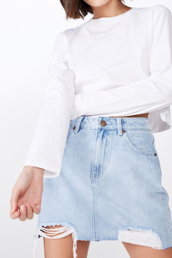 Classic Denim Skirt, DISTRESSED BLEACH BLUE