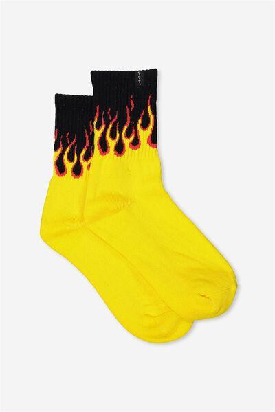 Retro Sport Sock, GALWAY FLAME_BLK