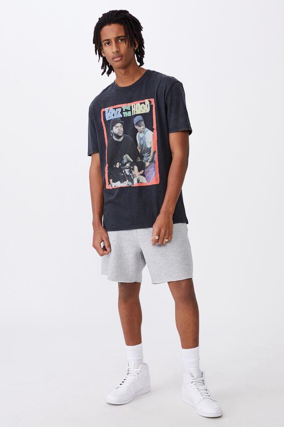 Regular License T Shirt, LCN MT WASHED BLACK/BOYZ IN THE HOOD
