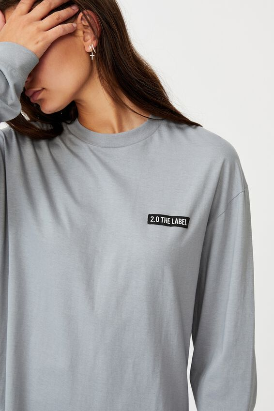 Super Oversized Ls Graphic Tee, FOG GREY/2.0 THE LABEL