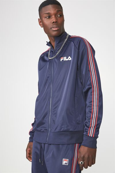 Fila Stripe Zip Through Jacket, NAVY