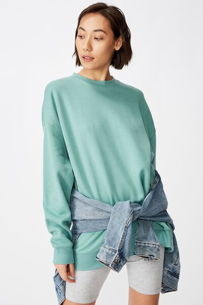 Oversized Crew Neck Sweater, SAGE GREEN