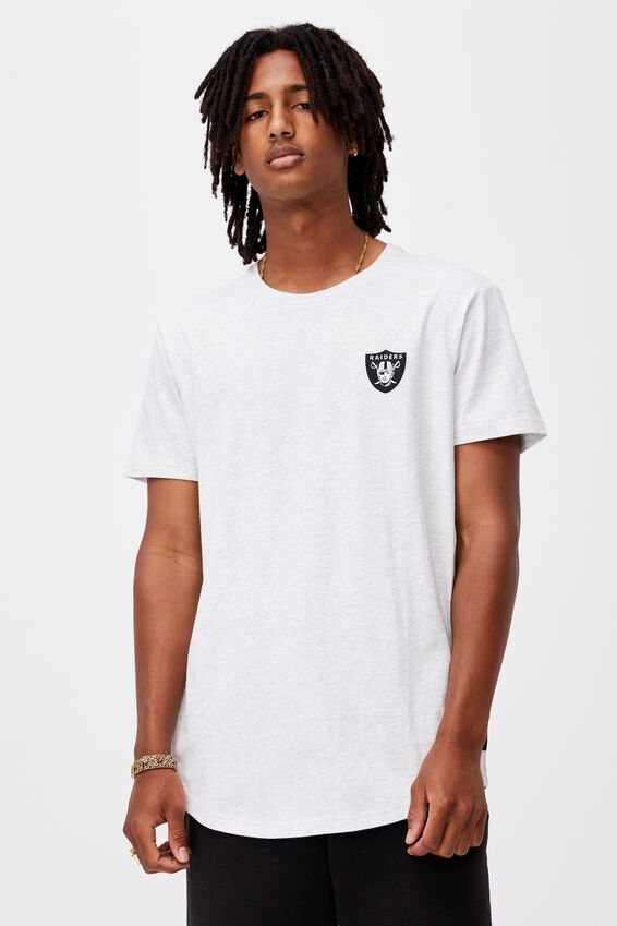 Curved Nfl T Shirt, LCN NFL SILVER MARLE/RAIDERS