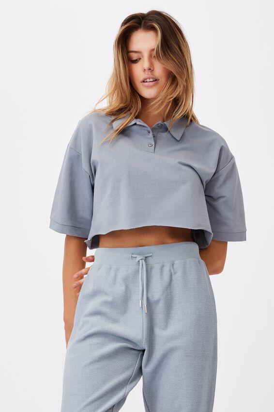 Short Sleeve Crop Polo Top, FOG GREY