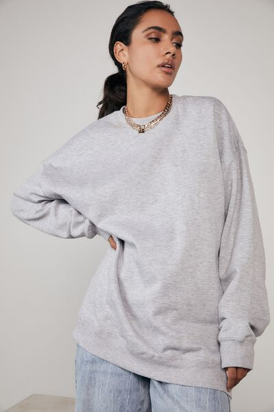 Oversized Crew Neck Sweater, GREY MARLE