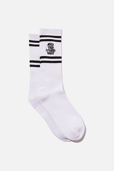 Retro Ribbed Socks, WHITE_WASH YOUR HANDS SLOGAN