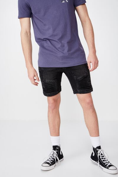 Moto Denim Short, WASHED BLACK
