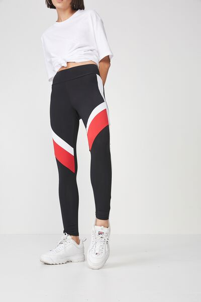 Colour Block Panelled Legging, BLACK_LYCHEE/WHITE