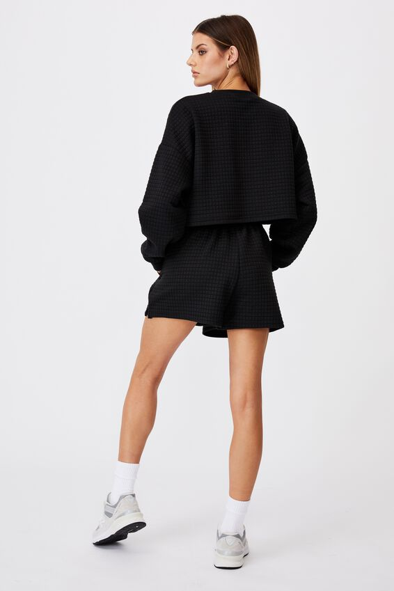Waffle Fleece Short, BLACK