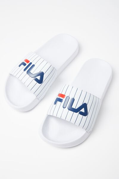 Fila Lcn Pinstripe Slide, WHITE