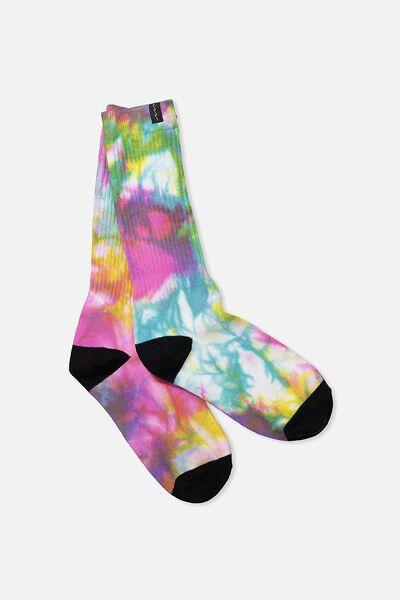 Retro Ribbed Socks, BLK HEEL TIE DYE