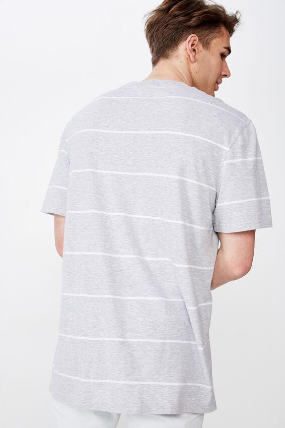 Fila Regular Stripe T Shirt, LIGHT GREY MARLE STRIPE