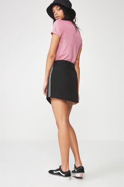 Zip Through Denim Skirt 2, BLACK