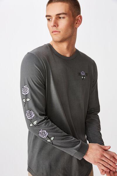 Curved Long Sleeve Graphic T Shirt, WASHED ASPHALT/MOTEL