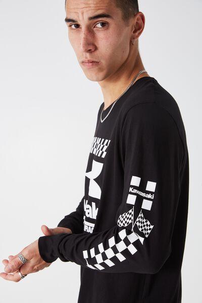 Ls Amped Licensed Tee, BLACK/KAWASAKI WHITE FLAG