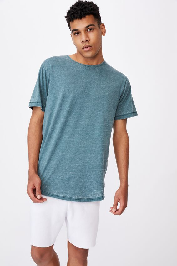 Longline Curved Washed T Shirt, PINE TEAL