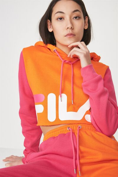 Fila Lcn Panel Crop Block Hoodie, PUFFINS BILL/FUCHSIA PURPLE