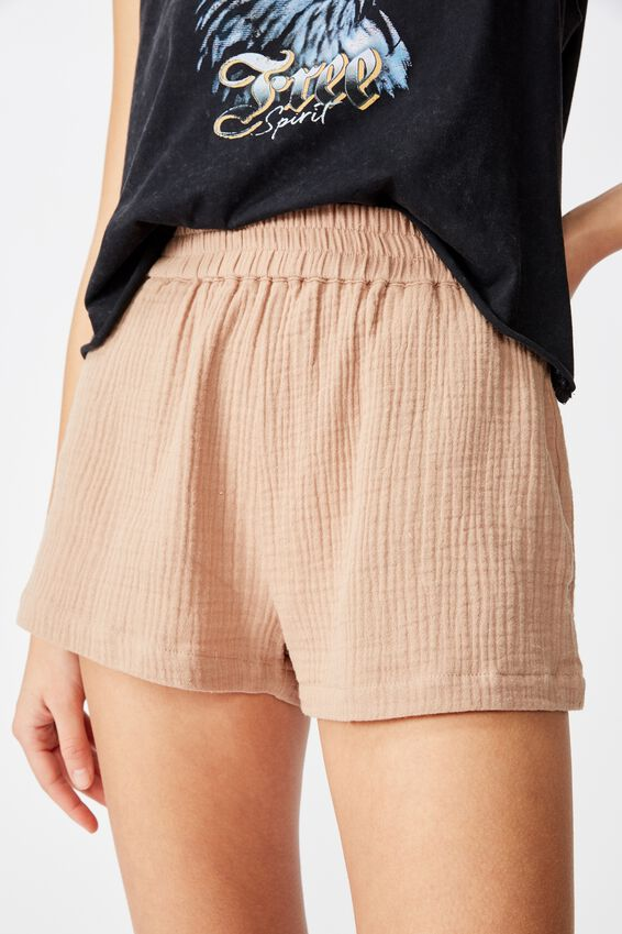 Cheesecloth Short, NOUGAT