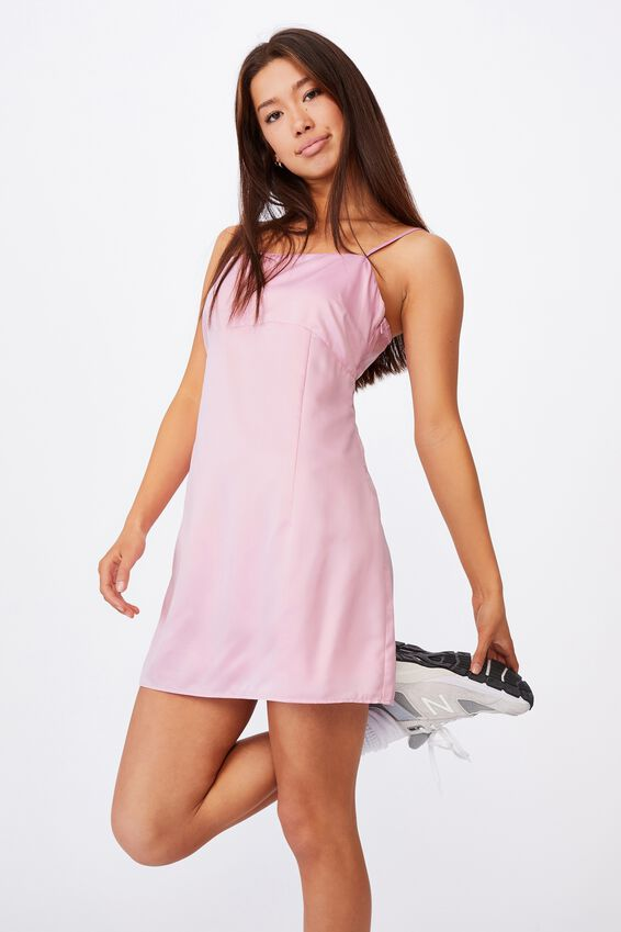 Satin Mini Dress, BABE PINK