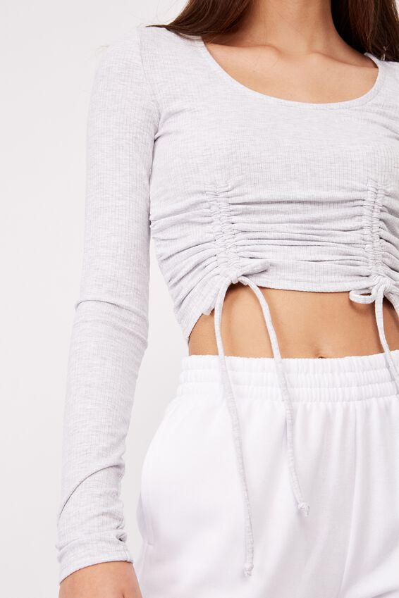 Long Sleeve Ruched Front Top, SILVER MARLE