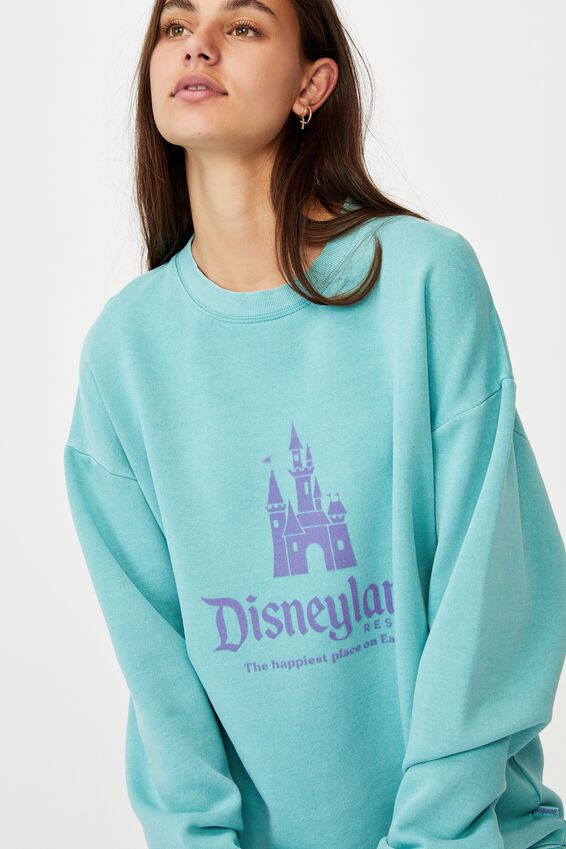 Disney License Crew, LCN DIS WASHED COOL MINT/DISNEY CASTLE