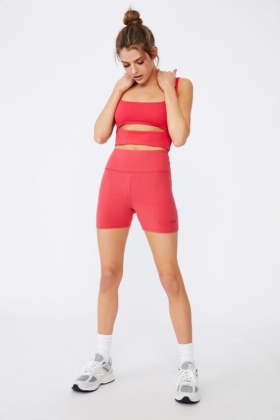 Cheeky High Waisted Printed Bike Short, RED APPLE/EST 1986