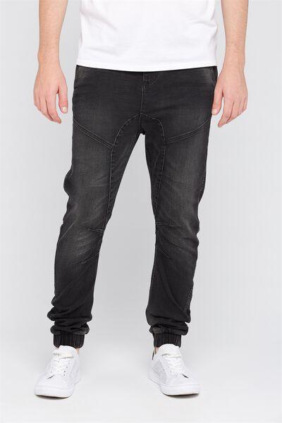 Slim Cuffed Denim Jeans, BLACK TINT