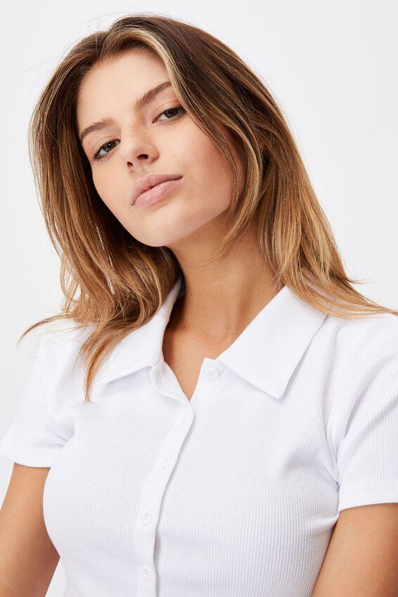Short Sleeve Button Thru Collar Tee, WHITE