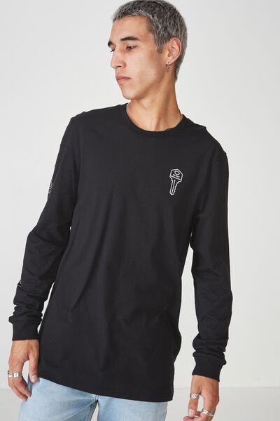 Slim Long Sleeve Graphic T Shirt, BLACK/ DO NOT DUPLICATE