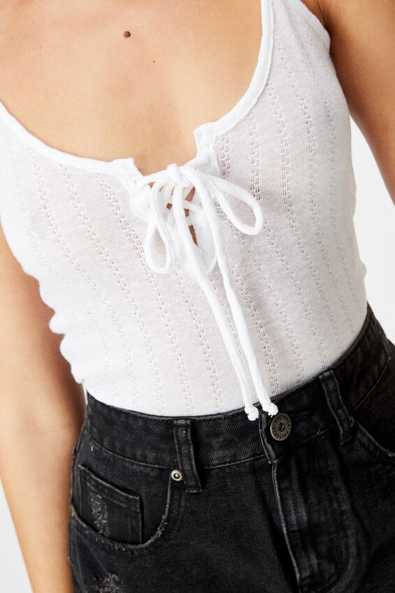 Tie Up Singlet, WHITE